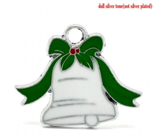 5 White Enamel Christmas Bell Charms 28mm x 23mm